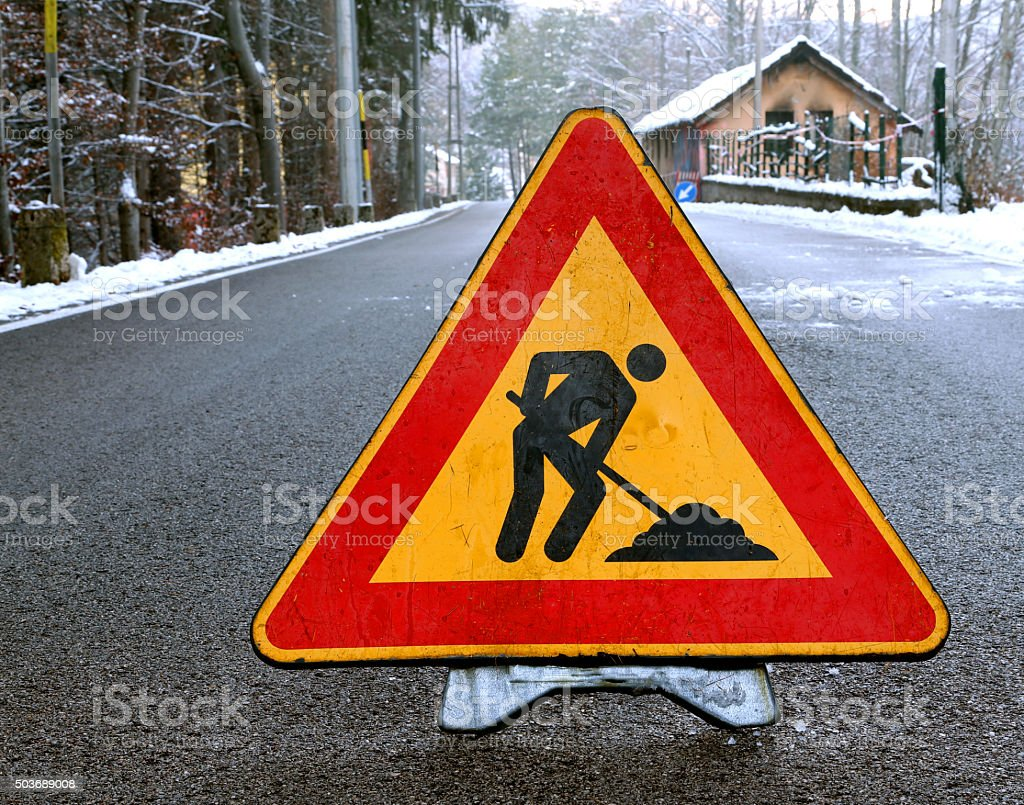 road sign work in progress in the road stock photo