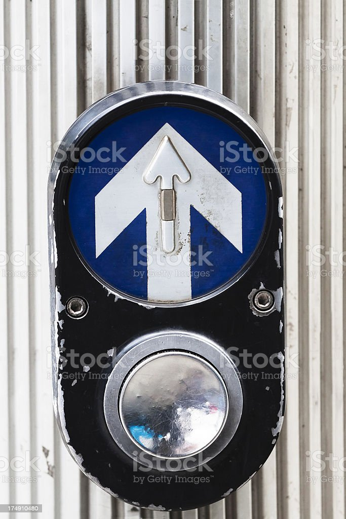 Road signal pushbutton for pedestrians crosssing road royalty-free stock photo