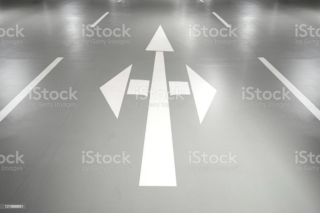 Road signs and markers at the parking garage royalty-free stock photo