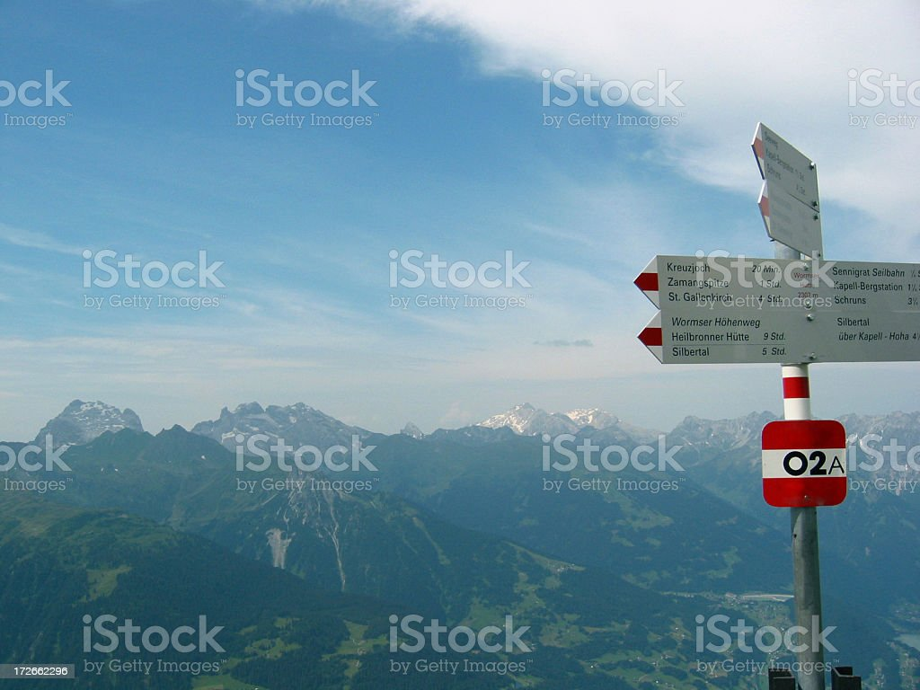 Road Signs at Moutain top stock photo