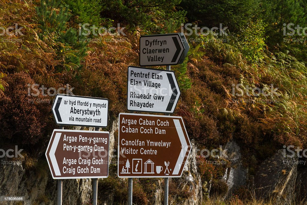 Road signs, Elan Valley Reservoirs, welsh English bilingual stock photo
