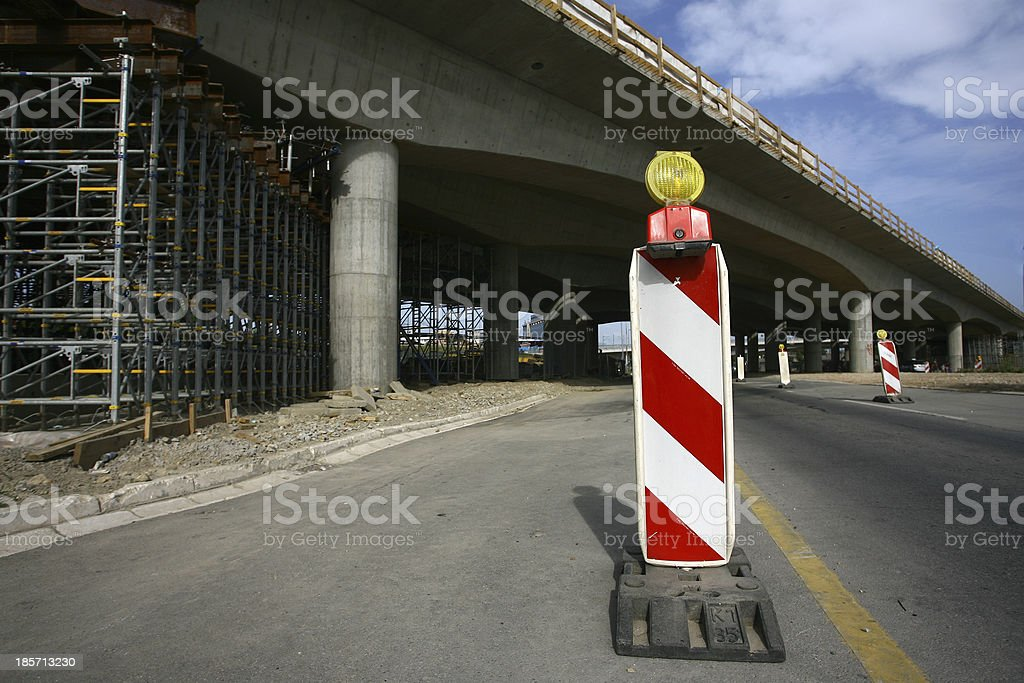 Road signs in a highway on reconstruction stock photo
