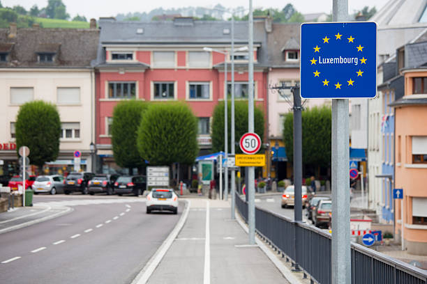 Road signs in Europe, border crossing into Luxembourg stock photo