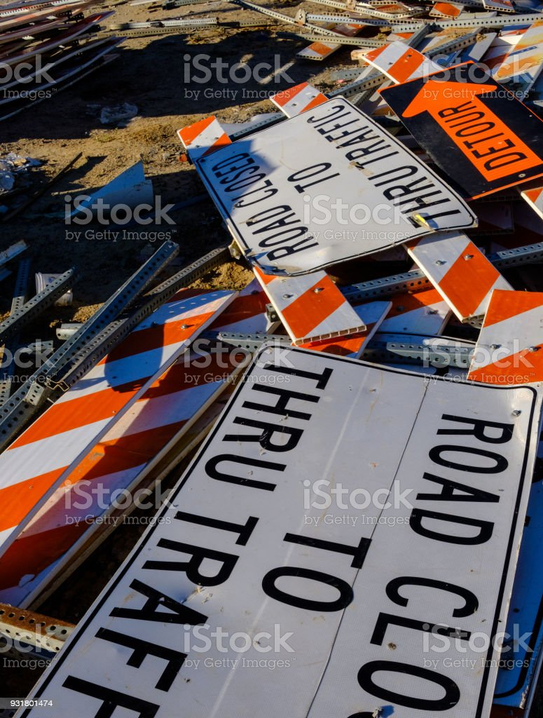 Road signs in storage stock photo