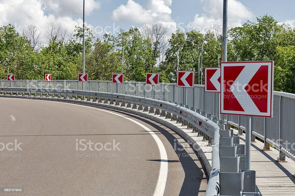 road signs, indicating left turn stock photo