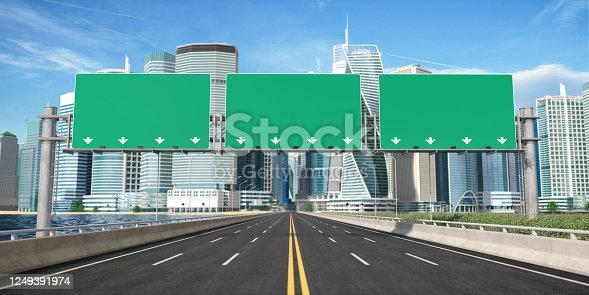 Road signs on a highway to city downtown with skyscrapers. 3d illustration