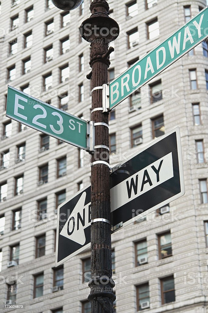 Road Signs on Broadway Avenue royalty-free stock photo