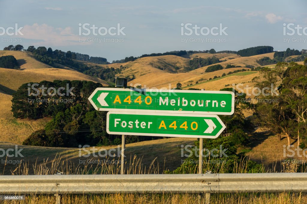 Road signs pointing towards Foster and Melbourne in South Gippsland. royalty-free stock photo