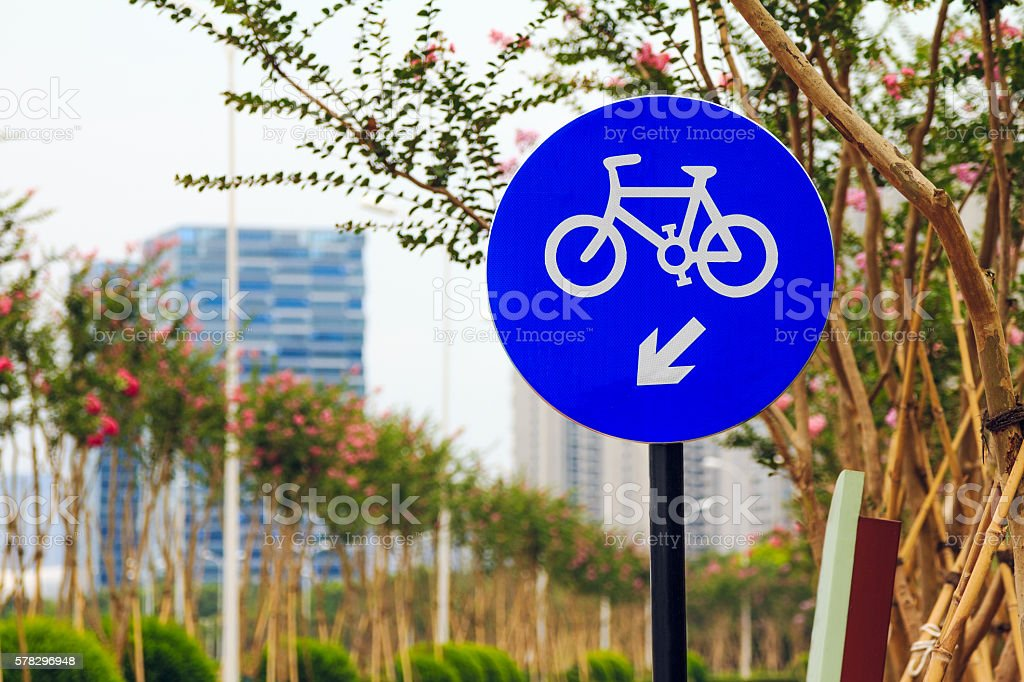 Road sing for bikes stock photo