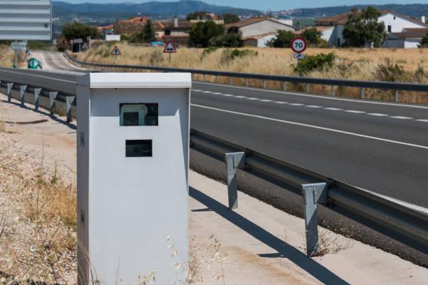 road speed control radar in barcelona province, spain - radar foto e immagini stock