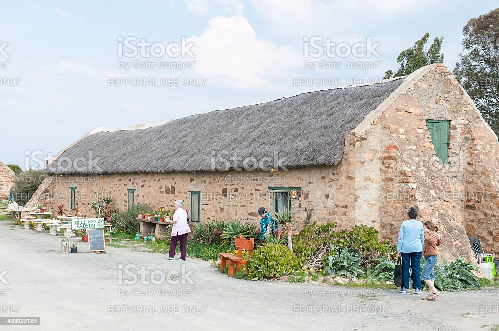 Road stall and restaurant at Matjiesfontein farm stock photo