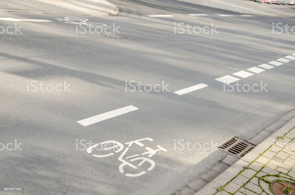 Road surface marking stock photo