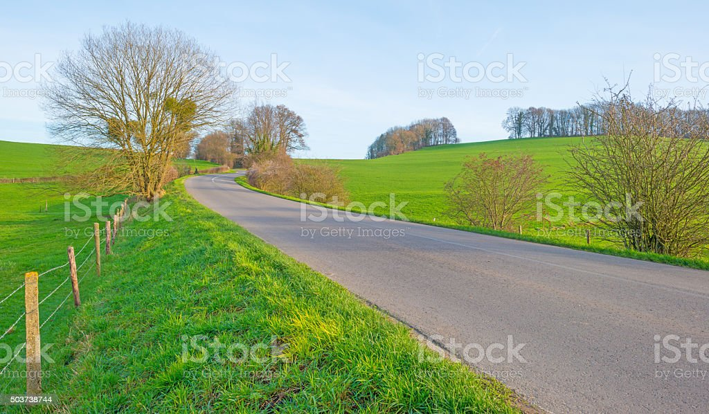 Road through a hilly landscape in winter stock photo