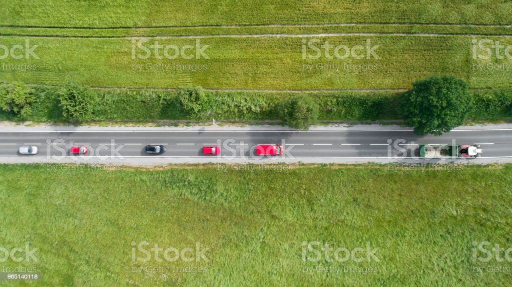 Road through agricultural area, aerial view zbiór zdjęć royalty-free
