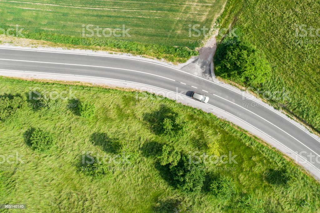 Road through agricultural area, aerial view royalty-free stock photo