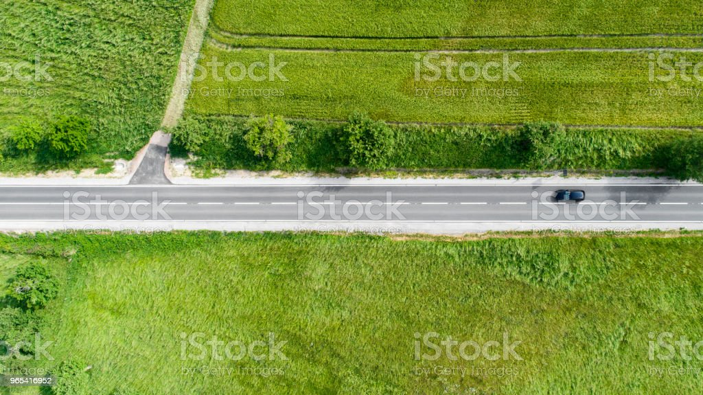 Road through agricultural area, aerial view zbiór zdjęć royalty-free