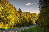 Road through autumn forest in the Upper Danube Valley. Autumn atmosphere in the Upper Danube Nature Park. District of Tuttlingen, Baden-Wuerttemberg, Germany