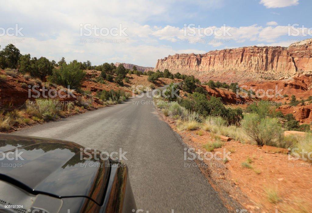 Road through Capitol Reef National Park. Utah. USA stock photo