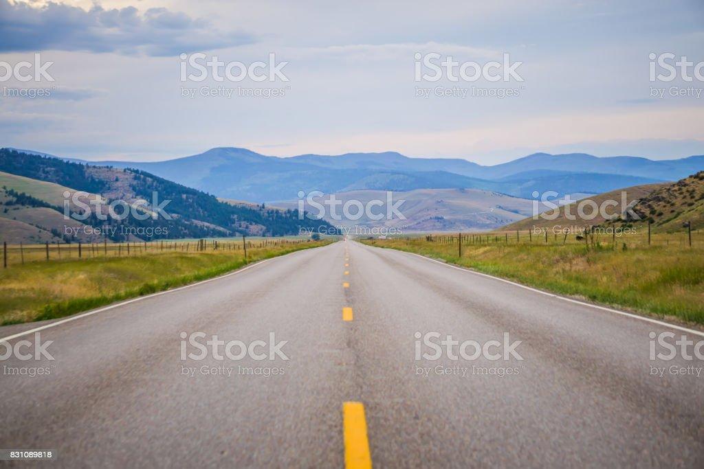 road through flathead  reservation montana stock photo