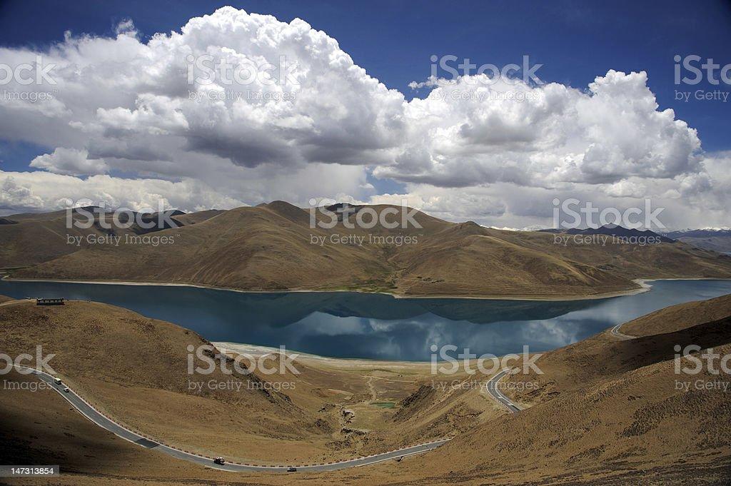 Road through Himalaya mountains near lake royalty-free stock photo