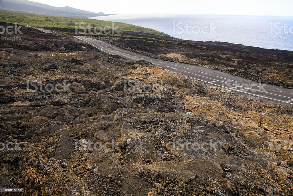 Road through lava flow. Reunion Island, East Africa stock photo