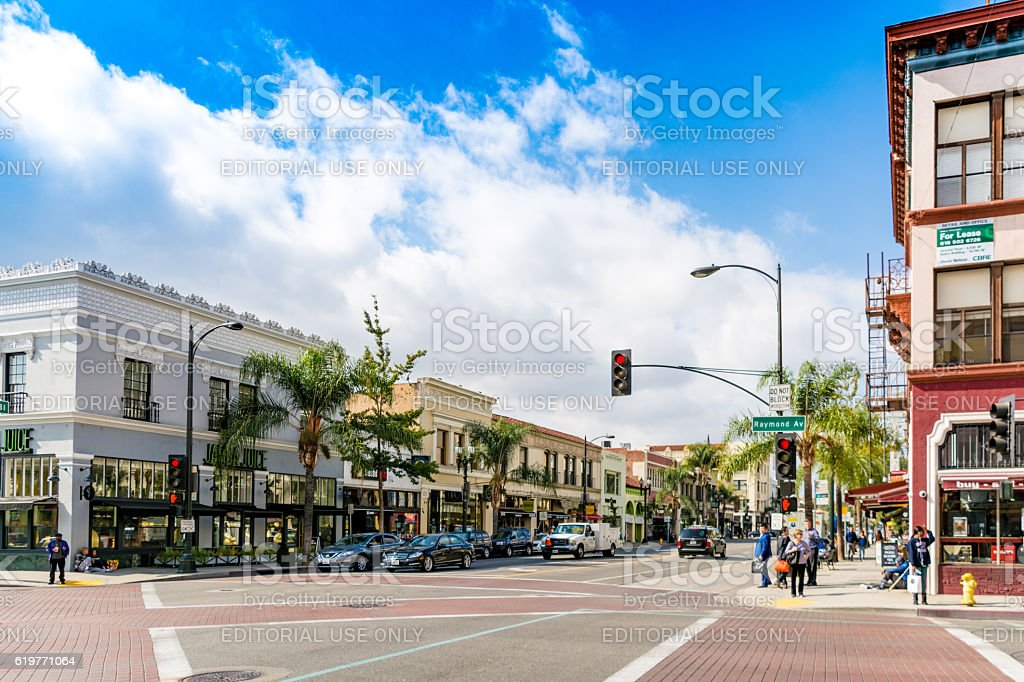 Road through Pasadena, Los Angeles, California stock photo