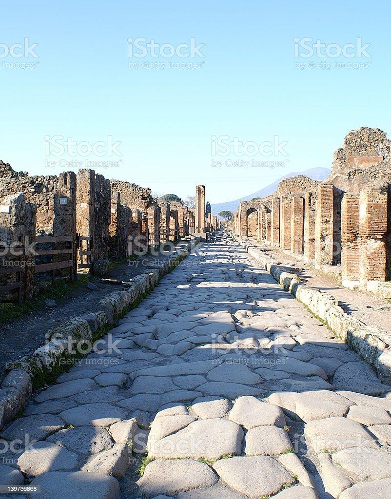 Road through Pompei stock photo
