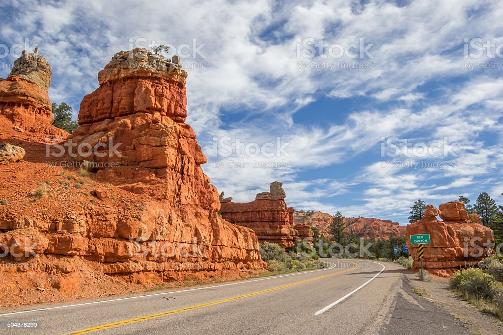Road through Red Canyon in Utah, America stock photo