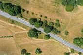 Road through rural scene - aerial view