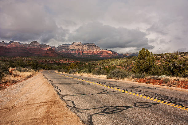 Road through Sedona in Winter stock photo