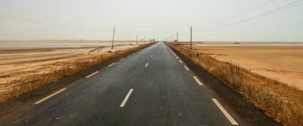 Road through Senegalese Nationial Park stock photo