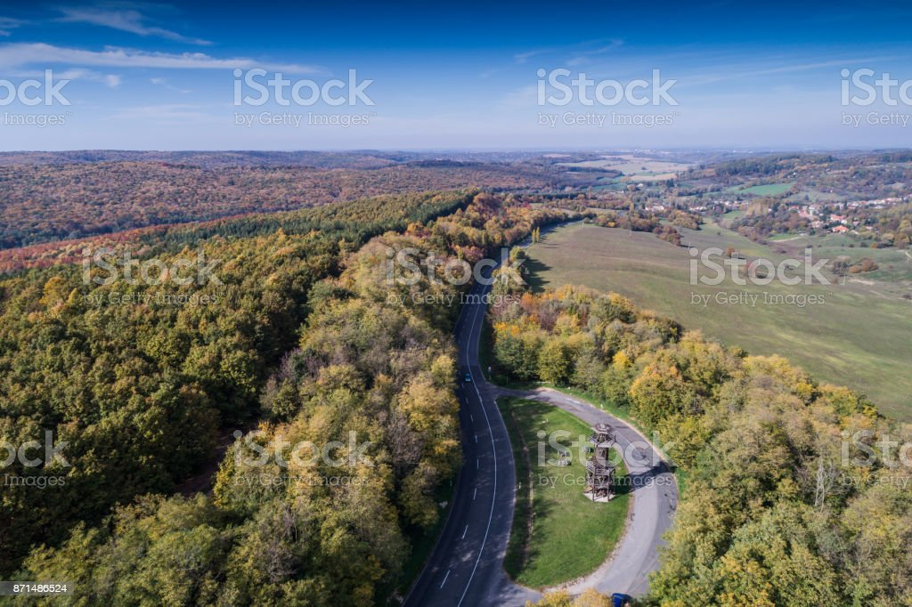 road through the autumn forest stock photo