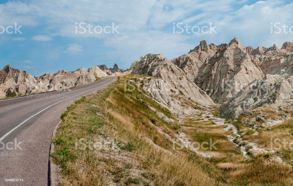 Road Through the Badlands stock photo