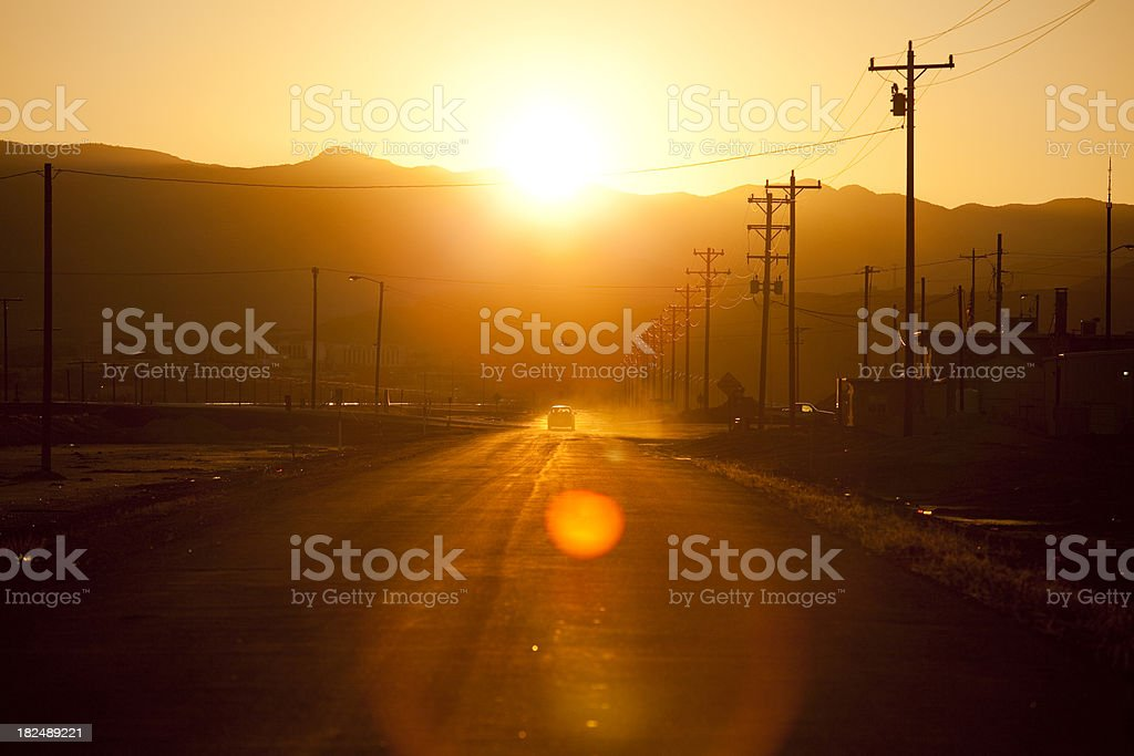 Road through the dusty streets stock photo