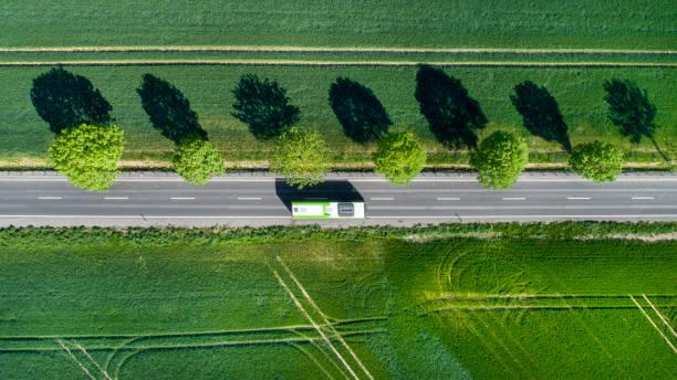Straße durch die Felder – Foto