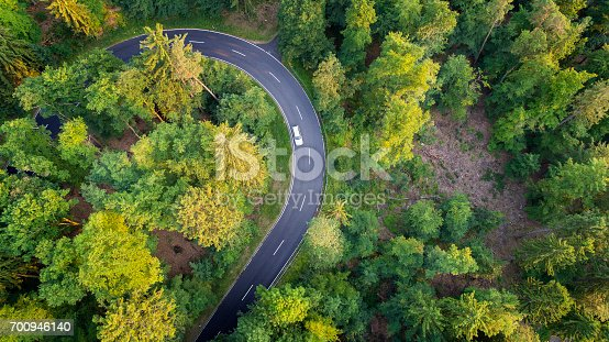 Road through the forest - aerial view