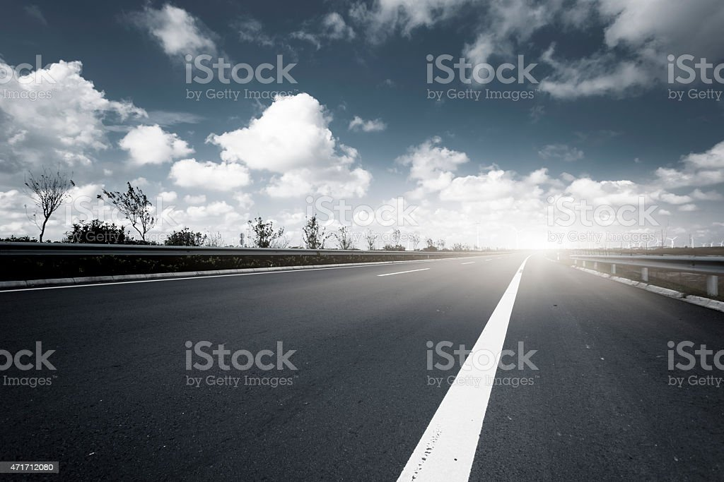 road through the Future electrical production stock photo