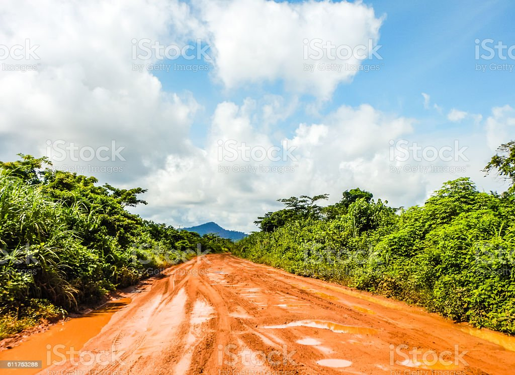 Road through the jungle after a rain.  Liberia, West Africa stock photo