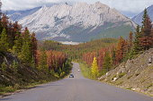 Road through the mountains in Canada Rockies