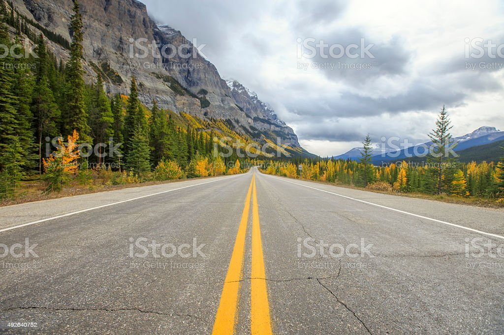 Road through the mountains in Canada Rockies stock photo
