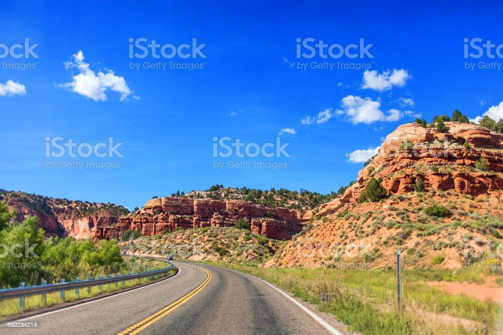 Road through the mountains in Utah, USA stock photo