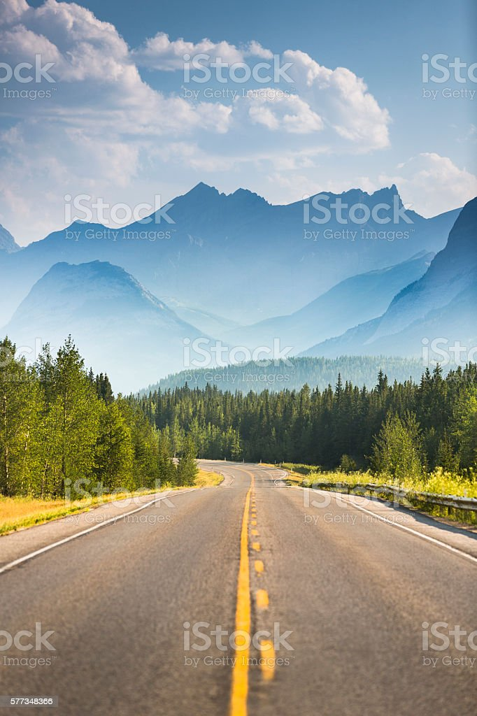 Road through the mountains stock photo