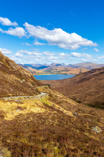 Road through the mountains to Kylerhea The Road through the mountains to Kylerhea north coast 500 stock pictures, royalty-free photos & images