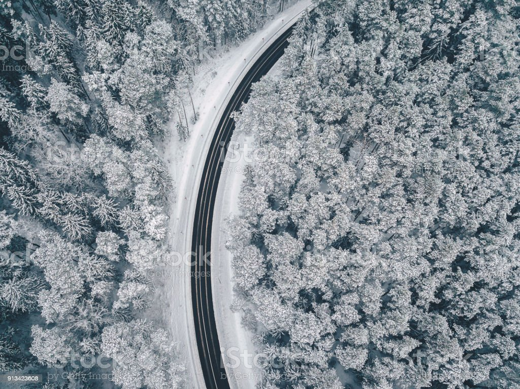 Road through the snowy forest stock photo