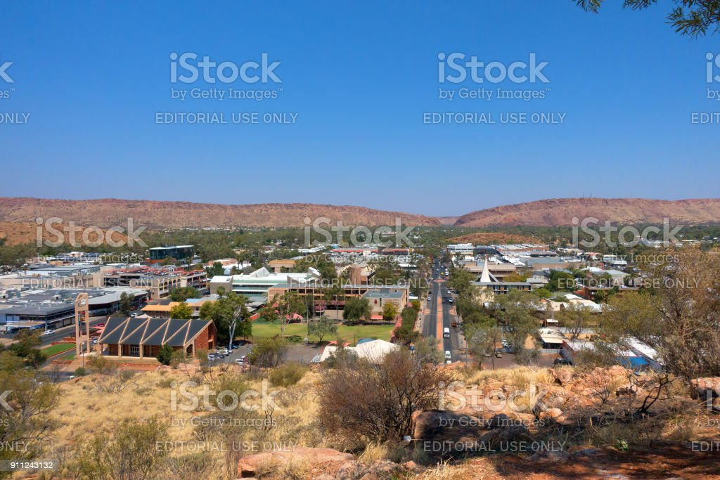 Road through the township Alice Springs in the Northern Territory stock photo