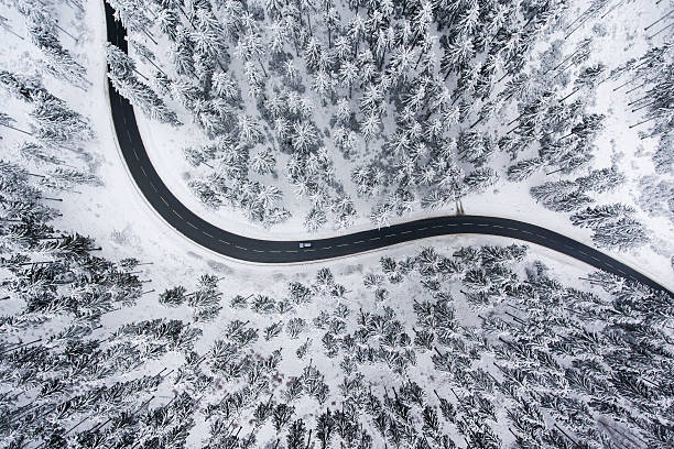 Road through the wintery forest - aerial view stock photo