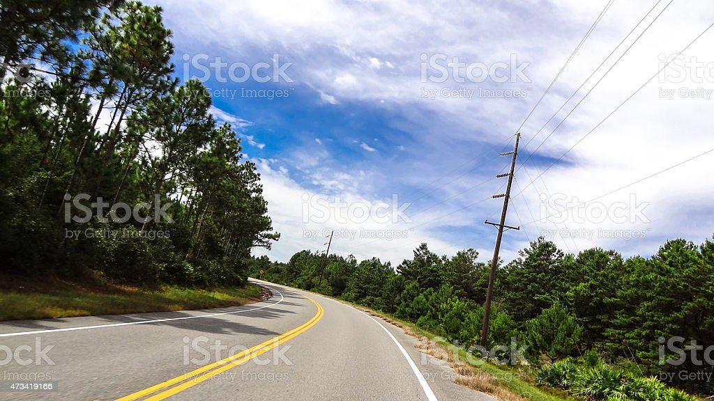 Road through the wood land of Northern Florida stock photo