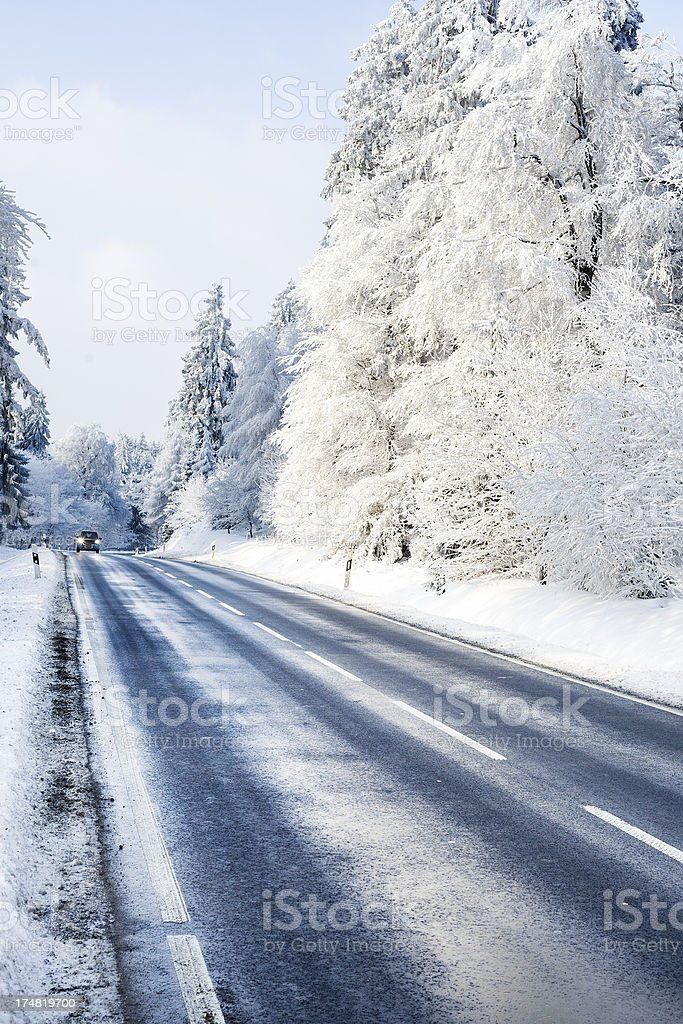 Road through winter forest royalty-free stock photo