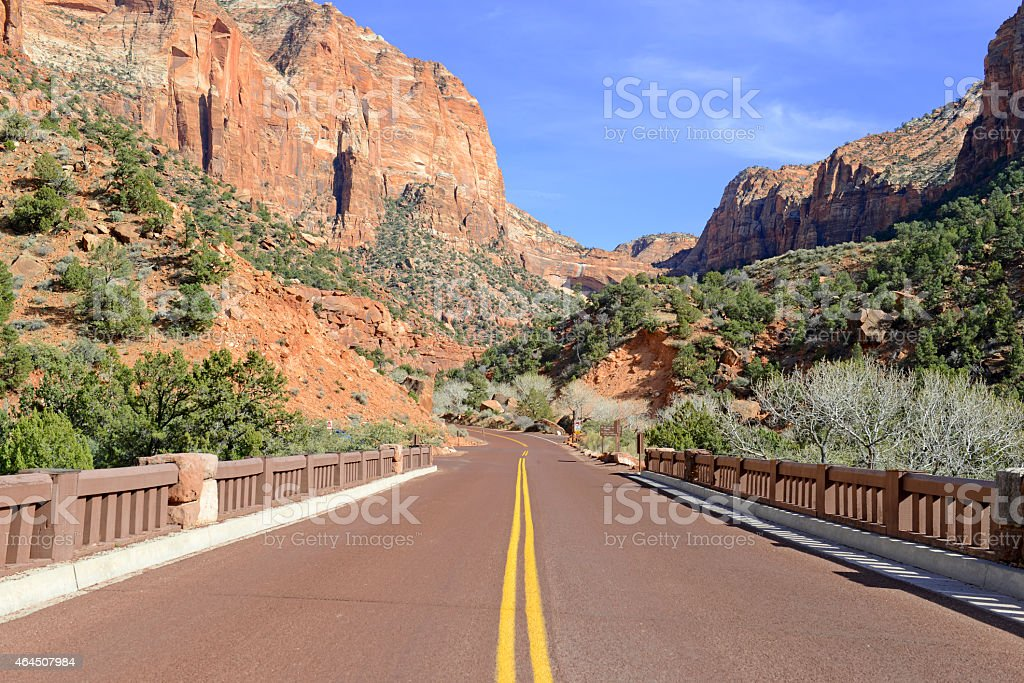 Road through Zion National Park, Utah stock photo