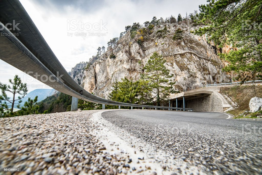 road to a mountain - Hohe Wand - low angle - copy space stock photo